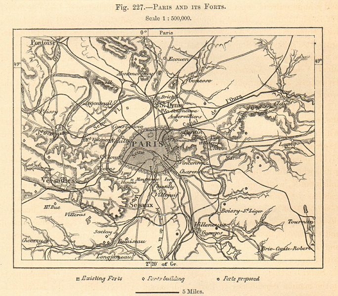 Associate Product Paris and its Forts. Sketch map 1885 old antique vintage plan chart