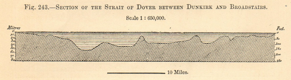 Associate Product Strait of Dover section Dunkirk-Broadstairs. English Channel. SMALL 1885 print
