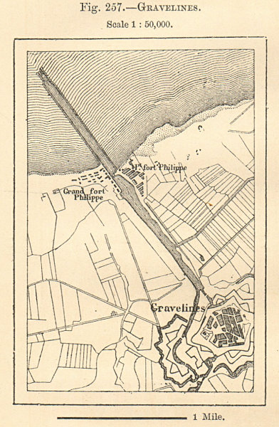 Associate Product Gravelines plan & environs. Nord. Sketch map. SMALL 1885 old antique chart