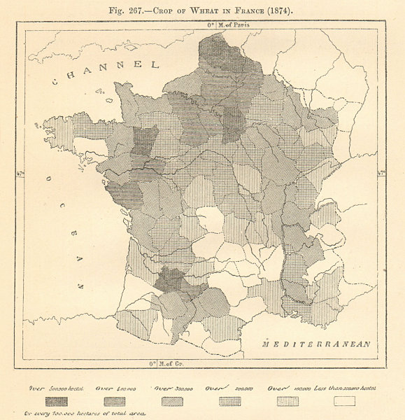 Associate Product Crop of Wheat in France (1874). Sketch map 1885 old antique plan chart