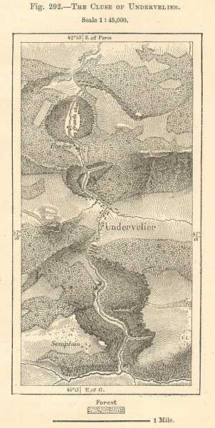 Associate Product The Cluse of Undervelier. Switzerland. Sketch map 1885 old antique chart