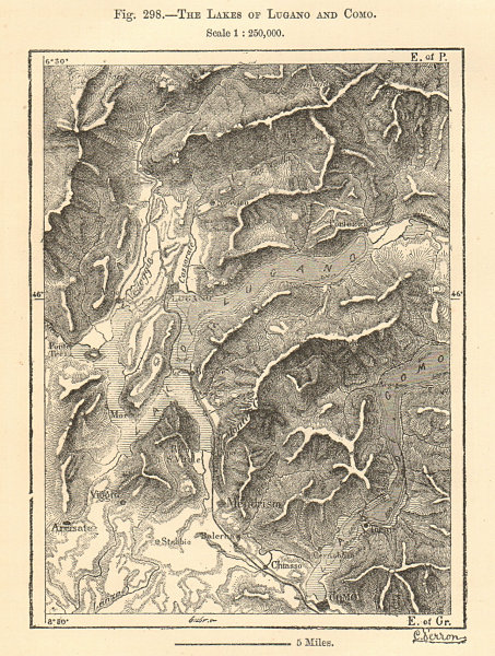 Associate Product The Lakes of Lugano and Como. Italy Switzerland. Sketch map 1885 old