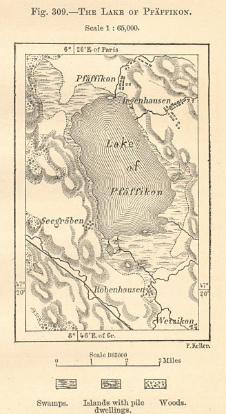 Associate Product Lake of Pfaffikon. Pfaffikersee. Switzerland. Sketch map. SMALL 1885 old
