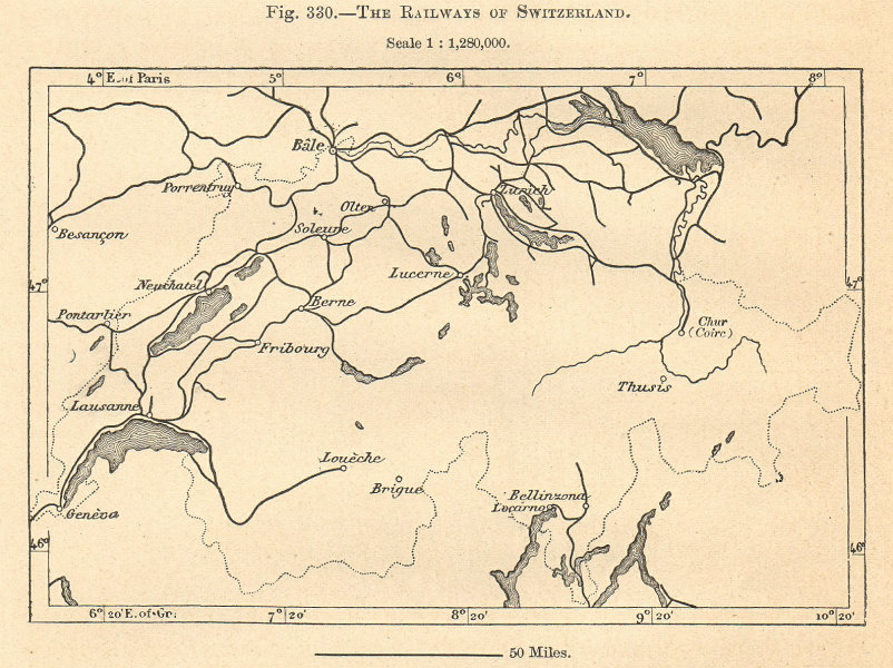 Associate Product The Railways of Switzerland. Sketch map 1885 old antique plan chart