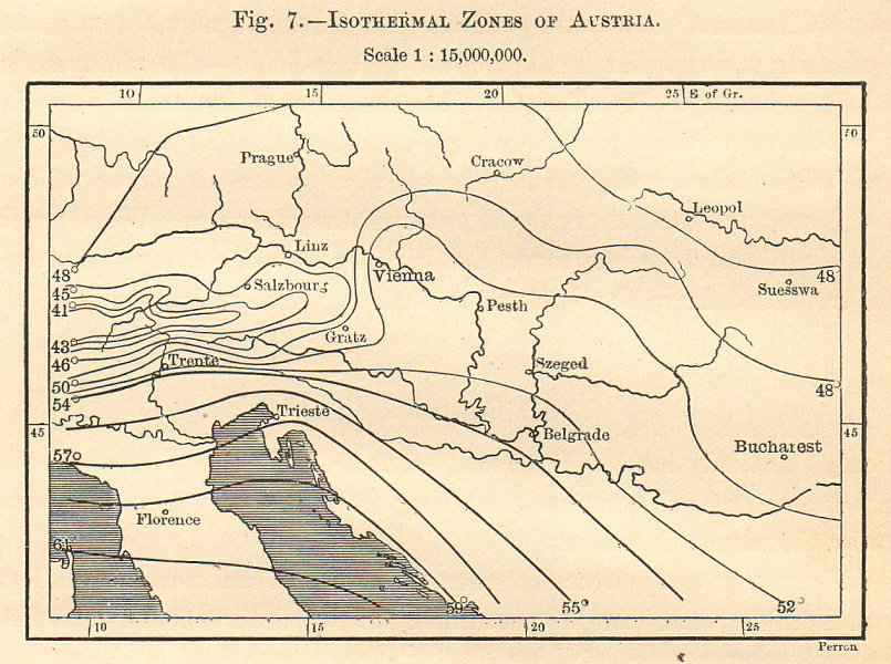 Associate Product Isothermal Zones of Austria-Hungary. Sketch map 1885 old antique chart