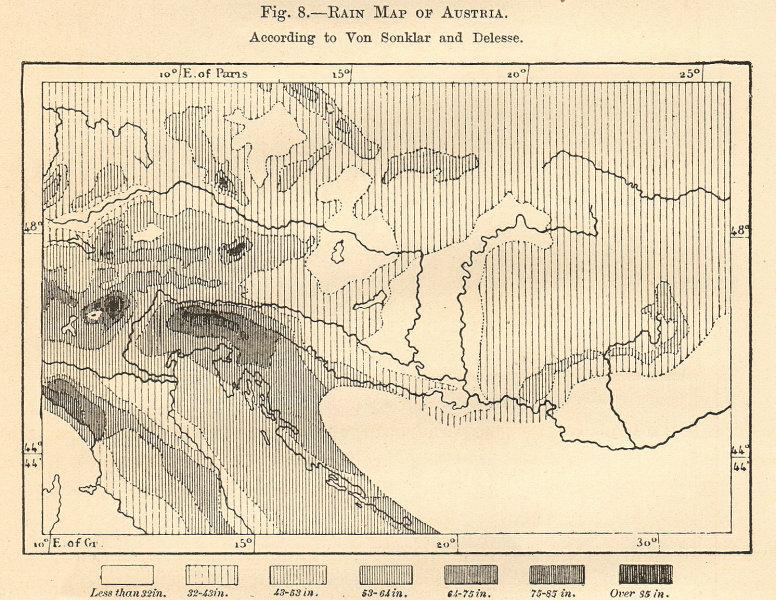 Associate Product Rain Map of Austria-Hungary. Precipitation. Sketch map 1885 old antique
