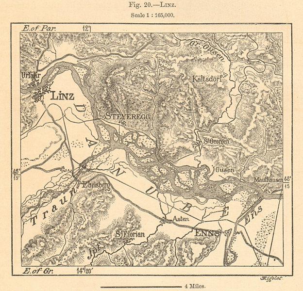 Associate Product Linz environs. Enns Danube Austria. Sketch map 1885 old antique plan chart