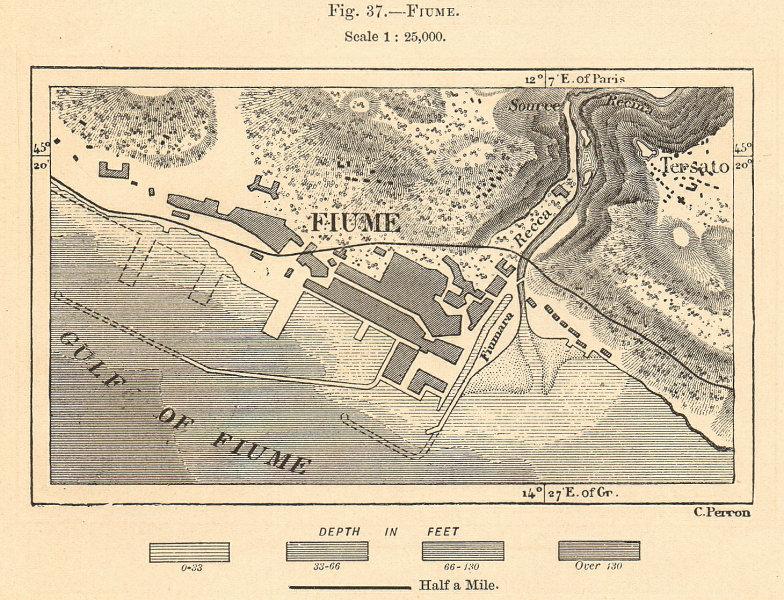 Associate Product Fiume. Rijeka town plan. Croatia. Sketch map 1885 old antique chart
