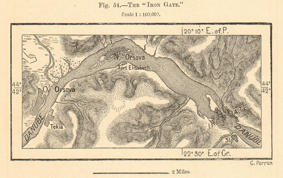 The Iron Gate. Orsova Danube. Romania Serbia. Sketch map 1885 old antique