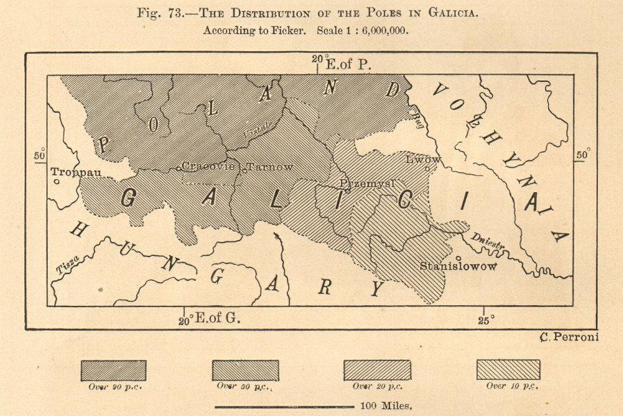 Associate Product Proportion of Poles in Galicia. Poland Ukraine. Krakow Lviv. Sketch map 1885