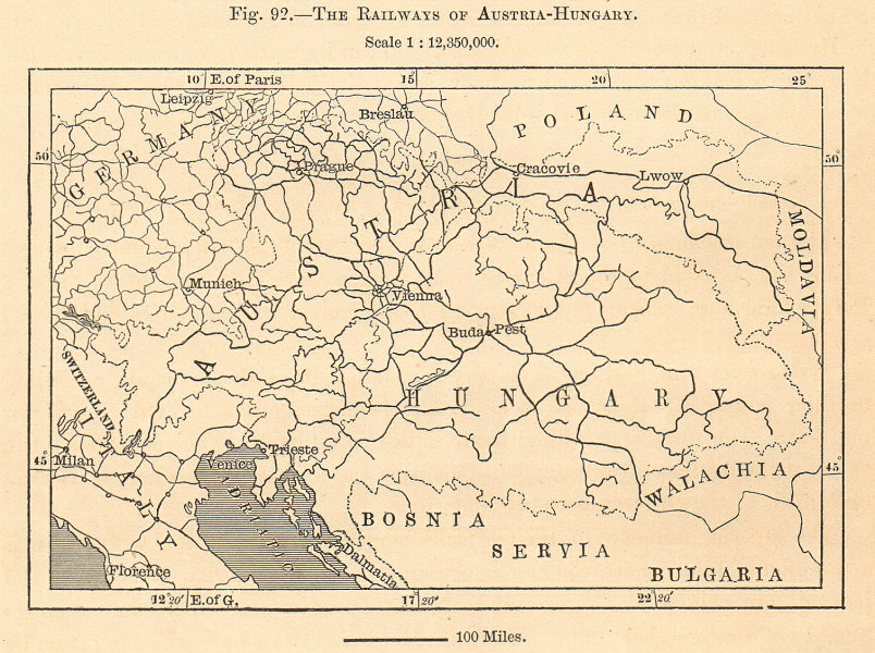 The Railways of Austria-Hungary. Sketch map 1885 old antique plan chart