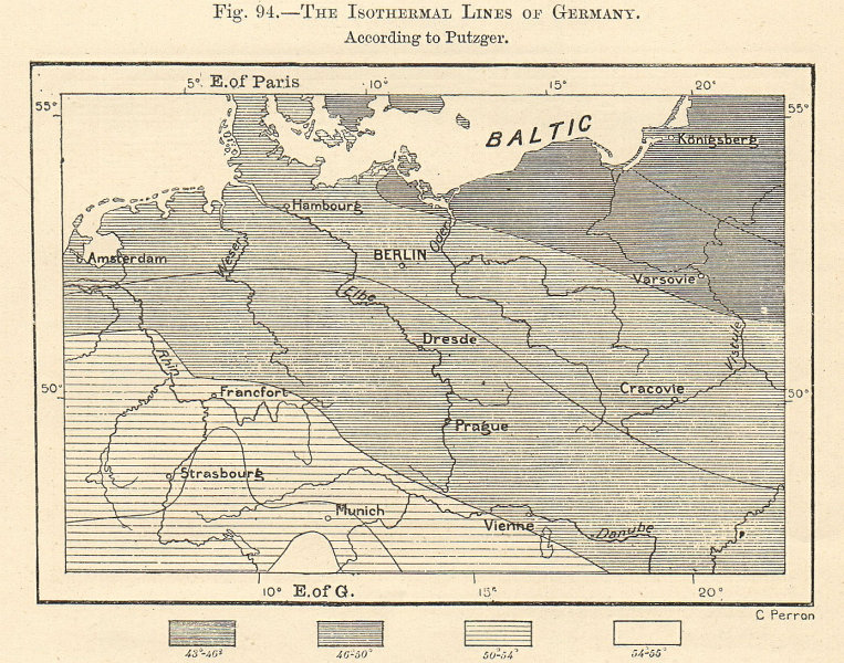 Associate Product The Isothermal Lines of Germany. Sketch map 1885 old antique plan chart