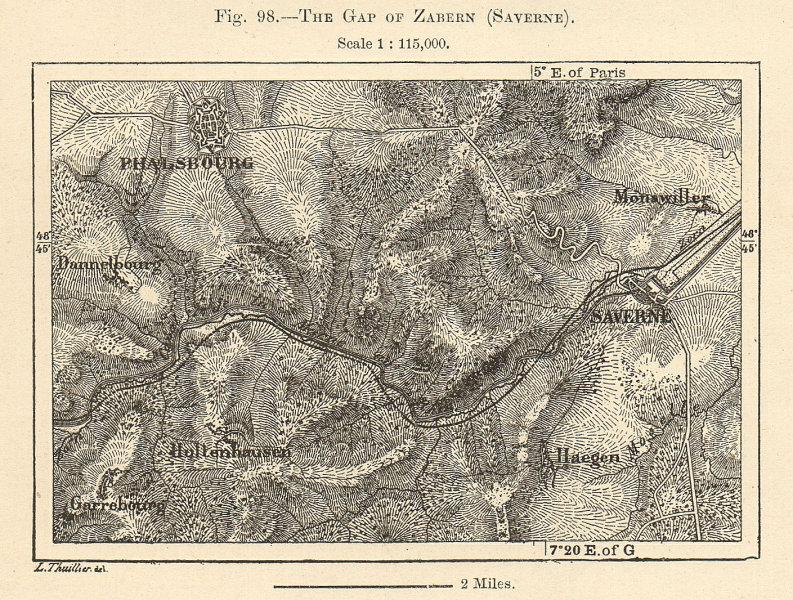 Associate Product The Gap of Zabern (Saverne). Phalsbourg. Moselle Bas-Rhin. Sketch map 1885