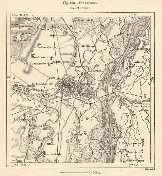 Associate Product Strassburg. Strasbourg & environs. Bas-Rhin. Sketch map 1885 old antique