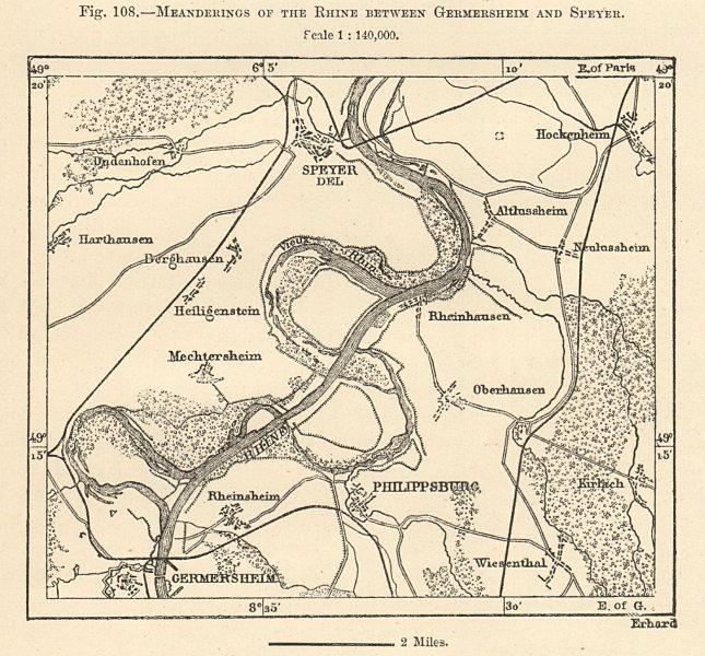 Associate Product Rhine meanderings Germersheim-Speyer. Rhineland-Palatinate. Sketch map 1885