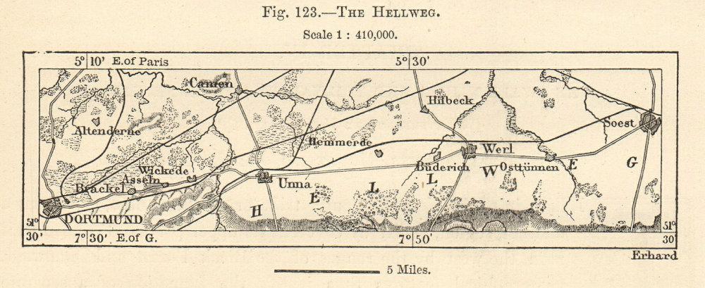 Associate Product Westphalian Hellweg. Dortmund-Soest. Germany. Sketch map. SMALL 1885 old