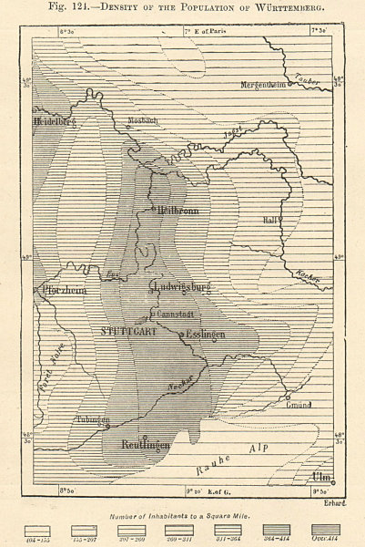 Associate Product Population density of Wurttemberg. Germany. Stuttgart. Sketch map 1885 old