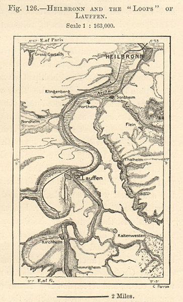 Associate Product Neckar river. Heilbronn Lauffen loops. Baden-Württemberg. Sketch map. SMALL 1885