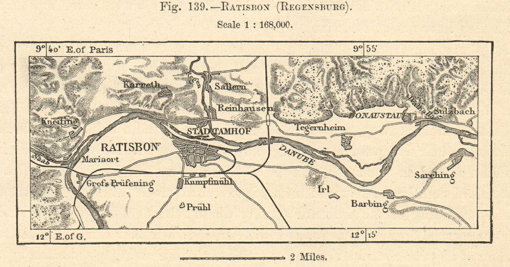Associate Product Ratisbon (Regensburg) & environs. Danube. Bavaria. Sketch map. SMALL 1885