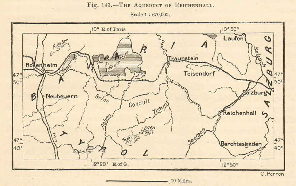 Associate Product Reichenhall aqueduct. Bavaria. Rosenheim Salzburg Chiemsee. Sketch map 1885