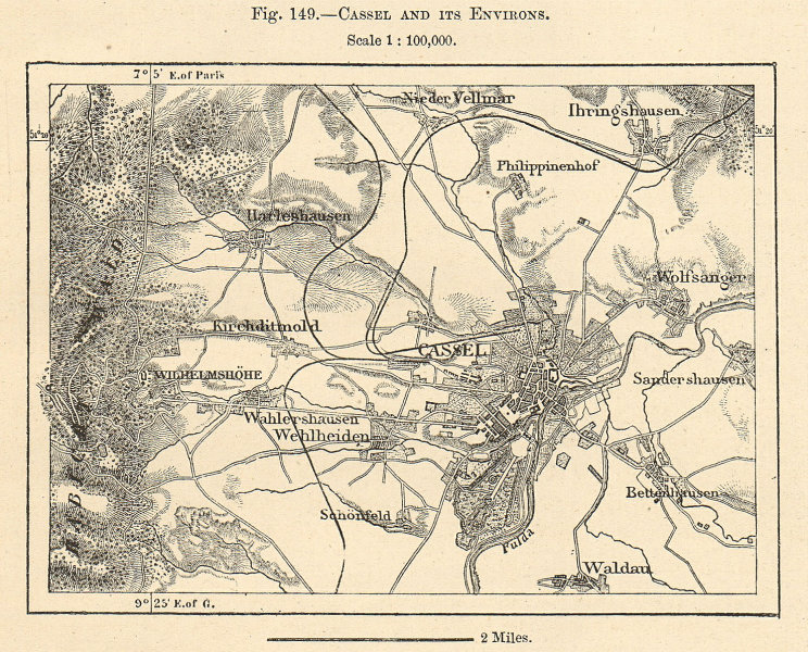 Associate Product Kassel and its environs. Hesse. Germany. Sketch map 1885 old antique chart