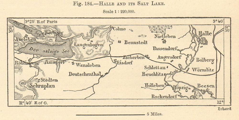 Associate Product Halle & salt lake. Salziger & Susser See. Saxony-Anhalt. Sketch map. SMALL 1885