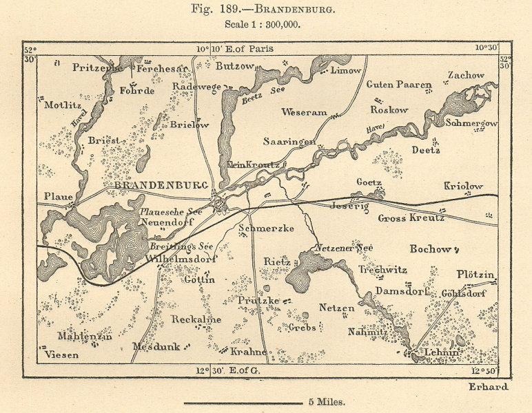 Associate Product Brandenburg an der Havel & environs. Germany. Sketch map 1885 old antique