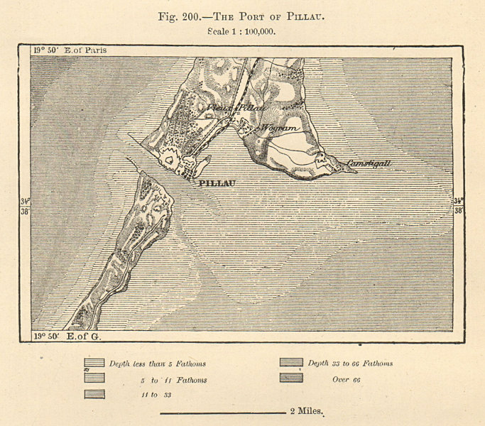 Associate Product Pillau / Baltiysk. Russian Kaliningrad exclave. Vistula Spit. Sketch map 1885