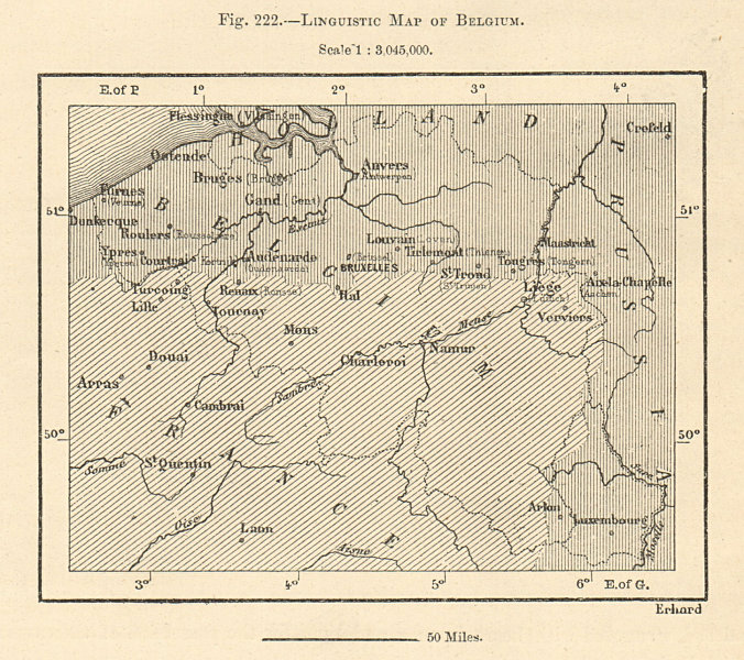 Associate Product Linguistic Map of Belgium. French Dutch Flemish. Sketch map 1885 old