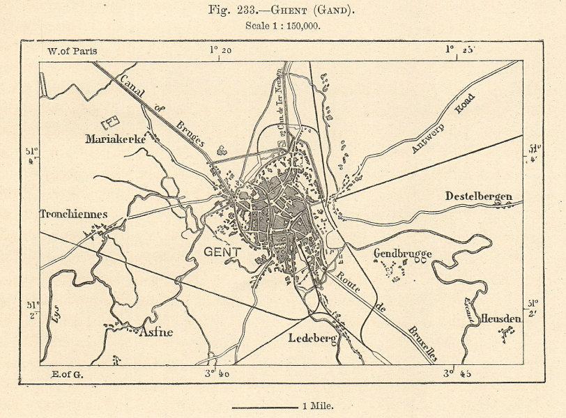 Associate Product Ghent (Gand) gent plan & environs. Belgium. Sketch map 1885 old antique
