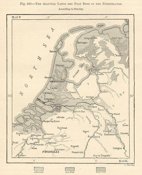 Associate Product The alluvial lands and peat bogs of the Netherlands. Sketch map 1885 old
