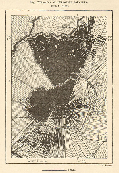 Associate Product The Zuiderpolder (Mijdrecht) formerly. Waverveen. Netherlands. Sketch map 1885