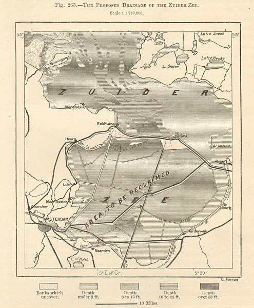 Associate Product The Proposed Drainage of the Zuider Zee. Netherlands. Sketch map 1885 old