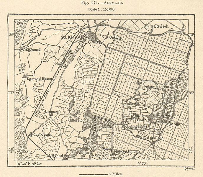 Alkmaar & environs. Netherlands. Sketch map 1885 old antique plan chart