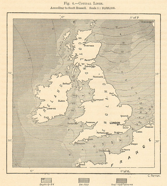 British Isles Cotidal Lines According to Scott Russell. Sketch map 1885