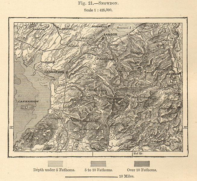 Associate Product North Snowdonia. Menai Strait Anglesey Caernarfon Gwynedd. Sketch map 1885
