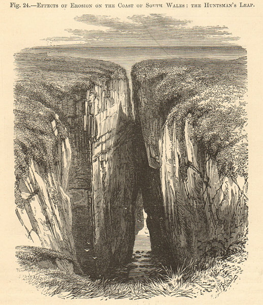 Associate Product The Huntsman's Leap chasm. Pembrokeshire. Landscapes 1885 old antique print