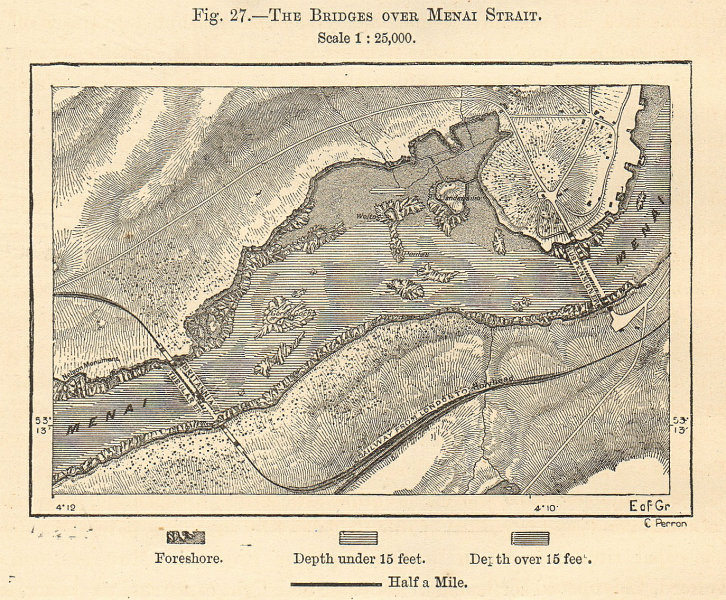 Associate Product Menai Strait bridges. Anglesey. Britannia tubular bridge. Wales. Sketch map 1885