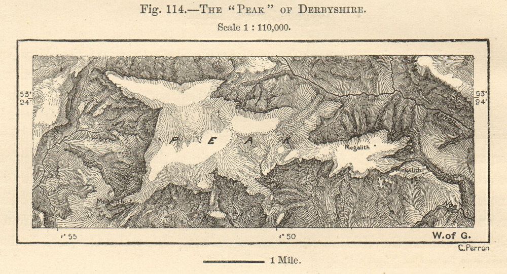 """The """"Peak"""" of Derbyshire. Kinder Scout, Peak District. Sketch map. SMALL 1885"""