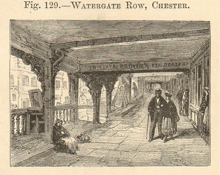 Associate Product Watergate Street Row, Chester. Cheshire. SMALL 1885 old antique print picture