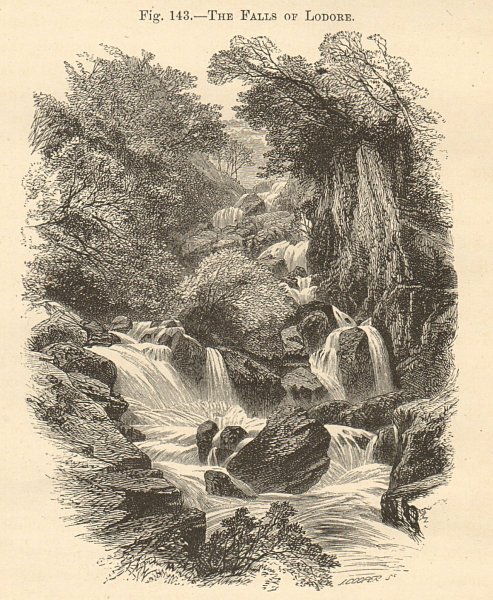 Associate Product Lodore Falls, Lake District. Cumbria. Derwentwater Watendlath 1885 old print