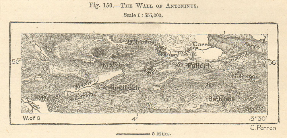 Associate Product Wall of Antoninus. Antonine Wall. Clyde-Forth. Scotland. Sketch map. SMALL 1885