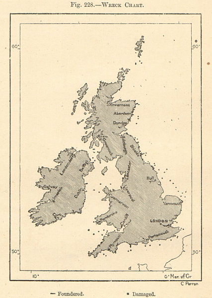 Associate Product Shipwreck Chart of the British Isles. Damaged foundered. Sketch map 1885