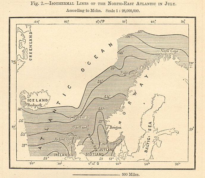 Associate Product North-East Atlantic isothermal lines in July. Norwegian Sea. Sketch map 1885