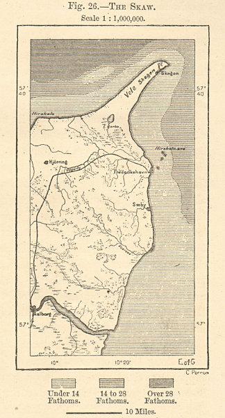 Associate Product The Skaw. Skagen. Aalborg. Frederikshavn. Northern Denmark. Sketch map 1885