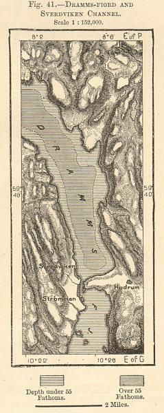 Drammensfjorden & Svelvik Channel. Norway. Sketch map 1885 old antique