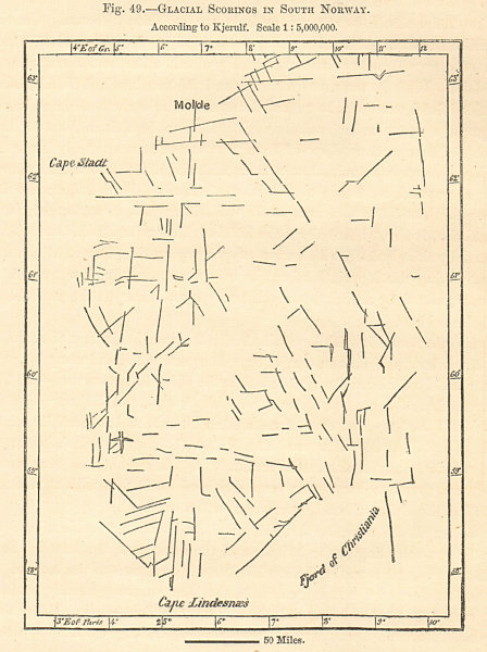 Associate Product Glacial Scorings in South Norway. Sketch map 1885 old antique plan chart
