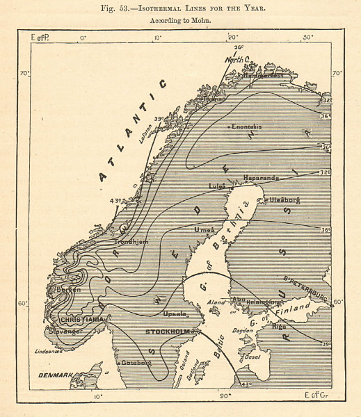 Associate Product Isothermal Lines for the year. According to Mohn. Scandinavia. Sketch map 1885