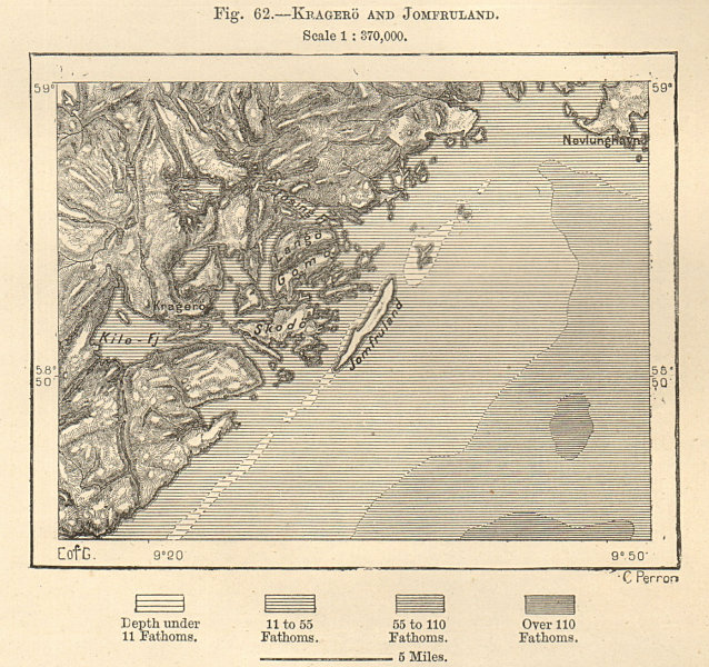 Associate Product Kragero, its archipelago and Jomfruland. Norway. Sketch map 1885 old