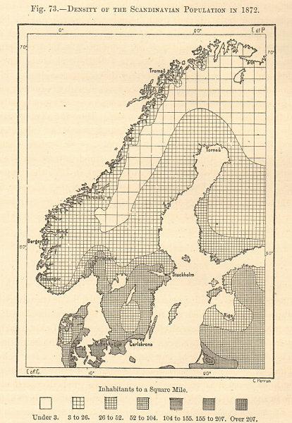 Associate Product Scandinavian Population density in 1872. Norway Sweden Denmark. Sketch map 1885